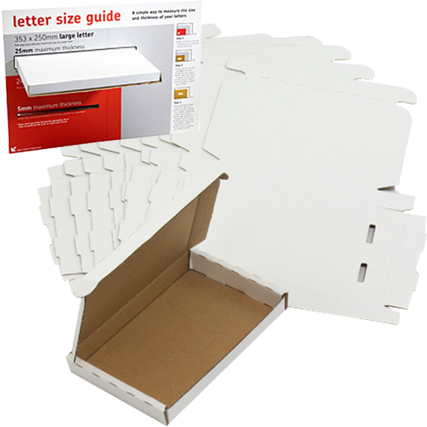 White PIP Large Letter Boxes 166x114x22mm